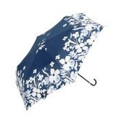 BE-01925 ネイビー [折りたたみ傘 2トーンフラワー ミニ 婦人 雨晴兼用 UVカット 50cm]
