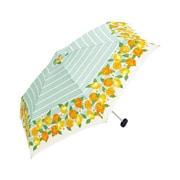 BE-01959 グリーン [折りたたみ傘 トートバッグ フルーツボーダー ミニ 婦人 雨晴兼用 UVカット 50cm]