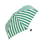 BE-01988 グリーン [折りたたみ傘 コンパクトポーチ ボールドストライプ ミニ 婦人 雨晴兼用 UVカット 50cm]