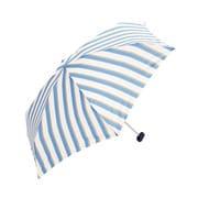 BE-01988 サックス [折りたたみ傘 コンパクトポーチ ボールドストライプ ミニ 婦人 雨晴兼用 UVカット 50cm]