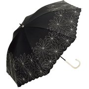 BE-99732 ブラック [綿長傘 マーガレット刺繍 婦人 晴雨兼用 UVカット 47cm]