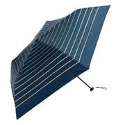 BE-09903 ネイビー [折りたたみ傘 PUスーパーライト/グリッターボーダー ミニ 婦人 晴雨兼用 UVカット 軽量 50cm]
