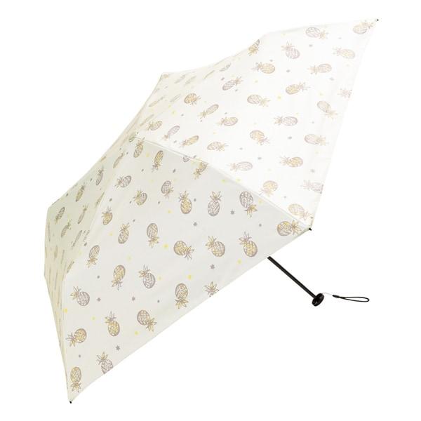 BE-09905 ホワイト [折りたたみ傘 PUスーパーライト/パイナップル ミニ 婦人 晴雨兼用 UVカット 軽量 50cm]