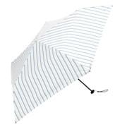 BE-09908 ホワイト [折りたたみ傘 PUスーパーライト/オルタネイトストライプ ミニ 婦人 晴雨兼用 UVカット 軽量 50cm]