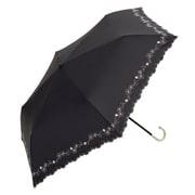 BE-09951 ブラック [綿折りたたみ傘 フラワー刺繍 ミニ 婦人 晴雨兼用 UVカット 47cm]