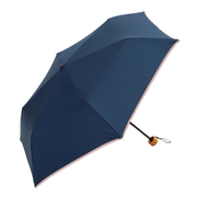 BE-09953 ネイビー [綿折りたたみ傘 ストライプパイピング ミニ 婦人 晴雨兼用 UVカット無地 47cm]