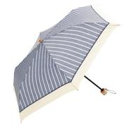 BE-09964 ネイビー [綿折りたたみ傘 シャンブレーストライプ ミニ 婦人 晴雨兼用 UVカット47cm]