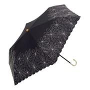 BE-09972 ブラック [綿折りたたみ傘 マーガレット刺繍 ミニ 婦人 晴雨兼用 UVカット 47cm]