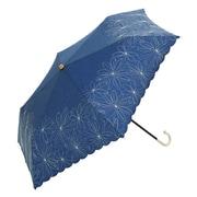 BE-09972 ネイビー [綿折りたたみ傘 マーガレット刺繍 ミニ 婦人 晴雨兼用 UVカット 47cm]