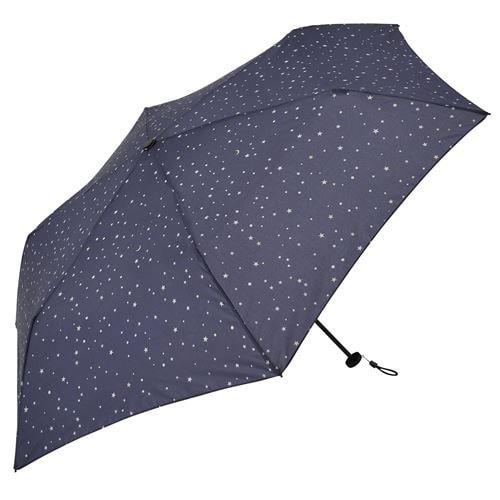 1318 ネイビー [軽量 折りたたみ傘 スマートライト 星柄 スター カーボン ミニ 晴雨兼用傘 UV 50cm]
