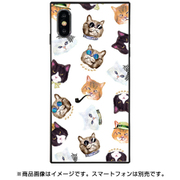 BJ-0022-IP0X-WHIT [スクエア型 ガラスケース iPhone XS/X gangster cat White]