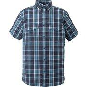 yacuma original check S/S shirt 234534 Blue Lサイズ [アウトドア シャツ メンズ]