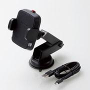 W-QC04BK [Qi規格対応ワイヤレス充電器/5W/車載ホルダー/吸盤/ロングタイプ/ブラック]