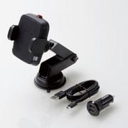 W-QC05BK [Qi規格対応ワイヤレス充電器/5W/車載ホルダー/吸盤/ロングタイプ/シガーチャージャー付属/ブラック]