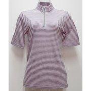 Ws ボーダーショートジップシャツ I 134 ピンク×ダークグレー Mサイズ [アウトドア カットソー レディース]