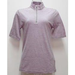 Ws ボーダーショートジップシャツ I 134 ピンク×ダークグレー Sサイズ [アウトドア カットソー レディース]