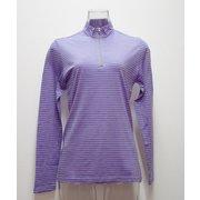 W'sボーダ-ロングジップシャツ I 136 PP パープル Lサイズ [アウトドア カットソー レディース]