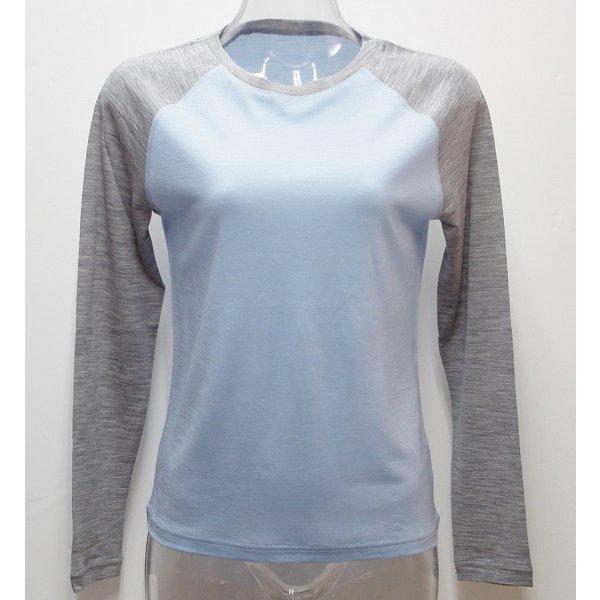 Ws 2トーンロングTシャツ I 335 ライトブルー×グレー Lサイズ [アウトドア カットソー レディース]