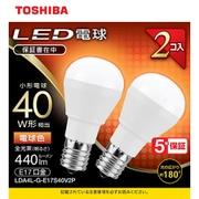 LDA4L-G-E17S40V2P [LED小型電球 E17 40W形相当 電球色2P 配光角180°]