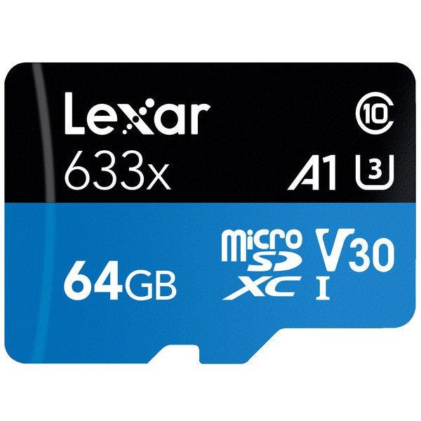 LSDMI64GBB1JP633A [Lexar High-Performance 633x microSDXC UHS-I A1 U3 V30 64GB]