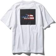 S/S National Flag Square Logo Tee NT31943 (WU)ホワイトUSA XLサイズ [アウトドア カットソー メンズ]