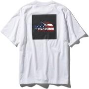 S/S National Flag Square Logo Tee NT31943 (WU)ホワイトUSA Lサイズ [アウトドア カットソー メンズ]