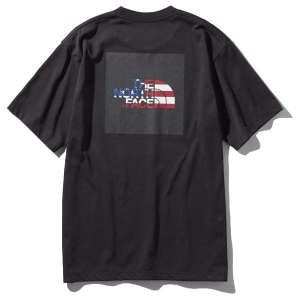 S/S National Flag Square Logo Tee NT31943 (KU)ブラックUSA Lサイズ [アウトドア カットソー メンズ]