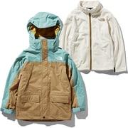 スノートリクライメイトジャケット Snow Triclimate Jacket NSJ61901 (BT)ブリティッシュカーキ×トレリスグリーン 140cm [スキーウェア キッズ]