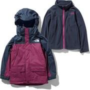 スノートリクライメイトジャケット Snow Triclimate Jacket NSJ61901 (UR)アーバンネイビー×ロックスバリーピンク 100cm [スキーウェア ジュニア]
