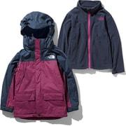 スノートリクライメイトジャケット Snow Triclimate Jacket NSJ61901 (UR)アーバンネイビー×ロックスバリーピンク 130cm [スキーウェア ジュニア]