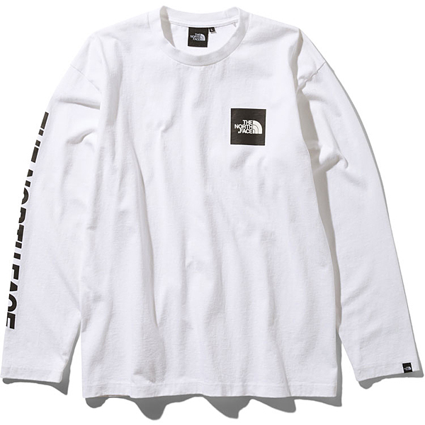 L/S Square Logo Tee NT81931 (W)ホワイト XLサイズ [アウトドア カットソー メンズ]