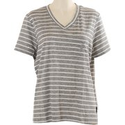 ボーダーVネック半袖Tシャツ JT-CS290 グレー LLサイズ [アウトドア カットソー レディース]