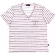 ボーダーVネック半袖Tシャツ JT-CS290 ピンク LLサイズ [アウトドア カットソー レディース]