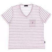 ボーダーVネック半袖Tシャツ JT-CS290 ピンク Mサイズ [アウトドア カットソー レディース]
