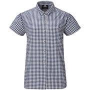 Ws SS Gingham Check Shirt 422834 N00_ネイビー XSサイズ [アウトドア シャツ レディース]