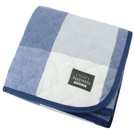 HPSP102-72 [洗いざらしでふんわりやわらか 綿100%の敷パッド チェック柄 ネイビー シングルサイズ  約100cm×205cm]