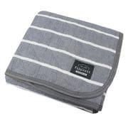 HPSP103-05 [洗いざらしでふんわりやわらか 綿100%の敷パッド ボーダー柄 グレイ シングルサイズ  約100cm×205cm]