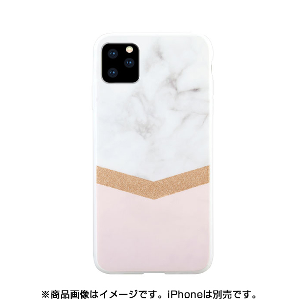 HWI158SR [iPhone 11 Pro HABITU Hybrid/WHITE MARBLE SIERRA ROSE GOLD GLITTER]
