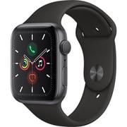 Apple Watch Series 5(GPSモデル)- 44mm スペースグレイアルミニウムケースとブラックスポーツバンド S/M & M/L [MWVF2J/A]