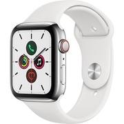 Apple Watch Series 5(GPS + Cellularモデル)- 44mm ステンレススチールケースとホワイトスポーツバンド [MWWF2J/A]