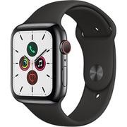Apple Watch Series 5(GPS + Cellularモデル)- 44mm スペースブラックステンレススチールケースとブラックスポーツバンド [MWWK2J/A]