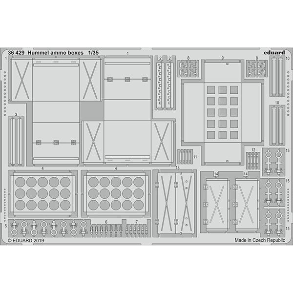 EDU36429 ドイツ 重自走榴弾砲 フンメル 砲弾箱 タミヤ用 [1/35スケール エッチングパーツ]