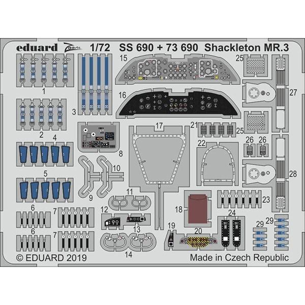 EDUSS690 アブロ シャクルトン MR.3 ズームエッチングパーツ レベル用 [1/72スケール エッチングパーツ]