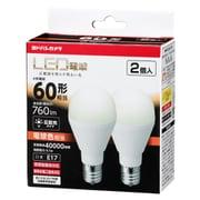 LDA6LGE172PYY [小型LED電球 60形相当 760lm E17 電球色相当 広配光タイプ 密閉器具・断熱材器具対応 2個セット]