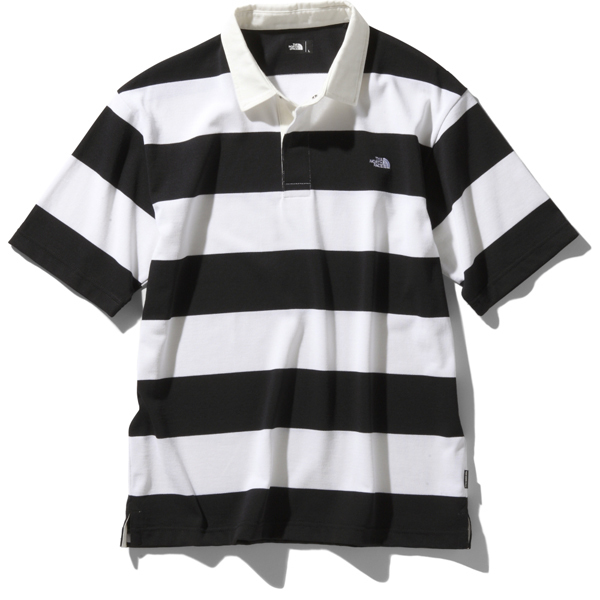 ショートスリーブラグビーポロ S/S Rugby Polo (WK)ホワイト×ブラック Mサイズ [アウトドア カットソー メンズ]