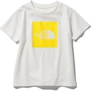 ショートスリーブカラードビッグロゴティー S/S Colored Big Logo Tee NTJ32026 (WL)ホワイト×TNFレモン 150サイズ [アウトドア トップス キッズ]