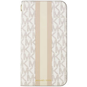 MKBPSFLIP1961 [MICHAEL KORS - Folio Case Beige Pink Stripe with Charm for iPhone 11]