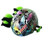 ラングスジュニアスポーツヘルメット ブラック 調整ダイヤル付き プロテクター付き [プロテクター付ヘルメット]