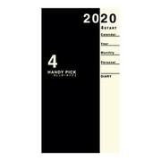 E1196 [Handy pick(ハンディピック) 1ヶ月ブロック 薄型 手帳(ミニ)サイズ ブラック 2020年4月始まり]