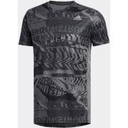オウン ザ ラン グラフィックTシャツ Own the Run Graphic Tee FYR43 グレーフォー/ブラック J/Sサイズ [ランニングシャツ メンズ]